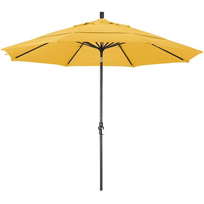 California Umbrella 11' Rd. Aluminum Market Umbrella, Crank Lift, Collar Tilt, Dbl Wind Vent, Bronze Finish, Pacifica Fabric