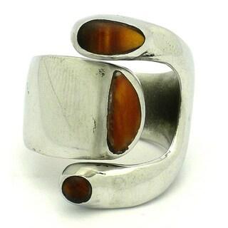Handmade Tiger Eye Alpaca Silver Ring (Mexico)