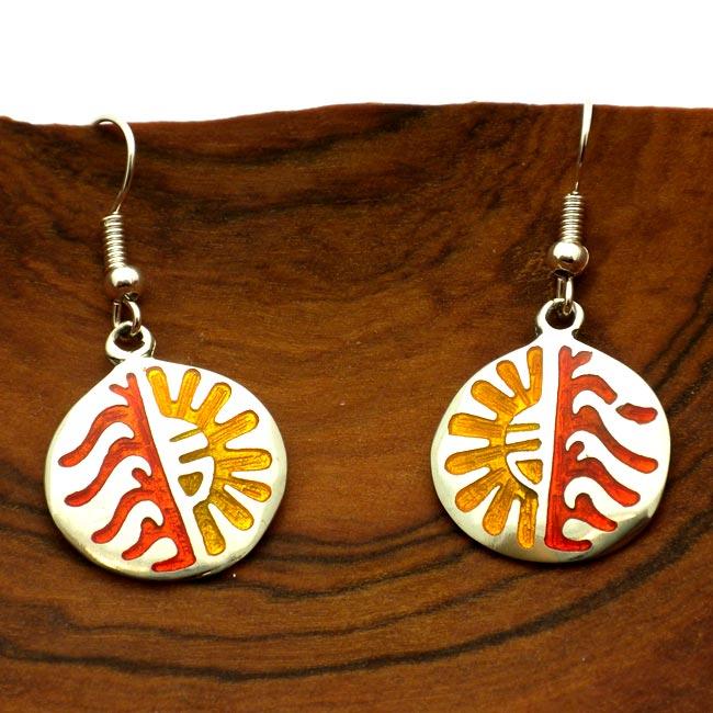 Colorful Hopi Design Alpaca Silver Earrings (Mexico)