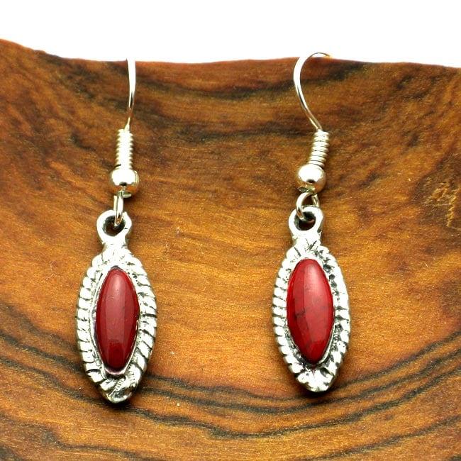 Red Jasper Oval Filigree Alpaca Silver Earrings (Mexico)