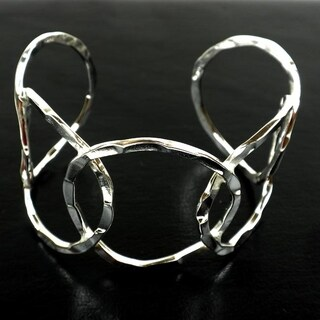 Handmade 'Circles' Silver Overlay Cuff (Mexico)