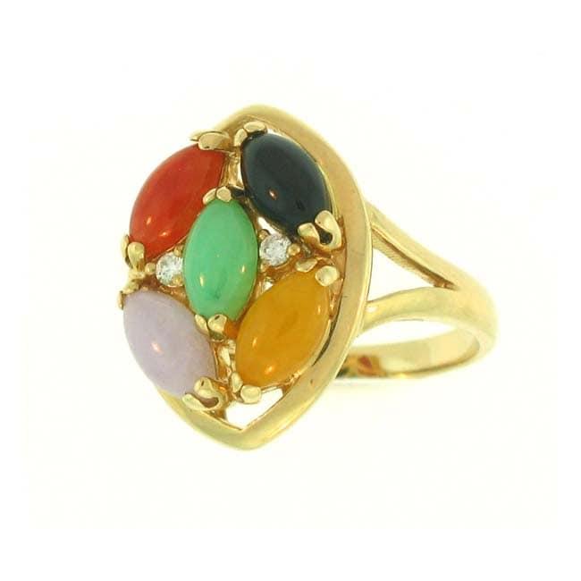 Mason Kay 14k Gold Multi-colored Jadeite and Diamond Accent Ring