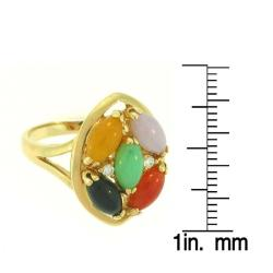 Mason Kay 14k Gold Multi-colored Jadeite and Diamond Accent Ring - Thumbnail 2