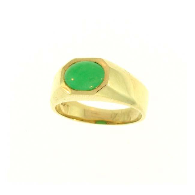 Mason Kay 14k Gold Green Jadeite Octagonal Gypsy Ring