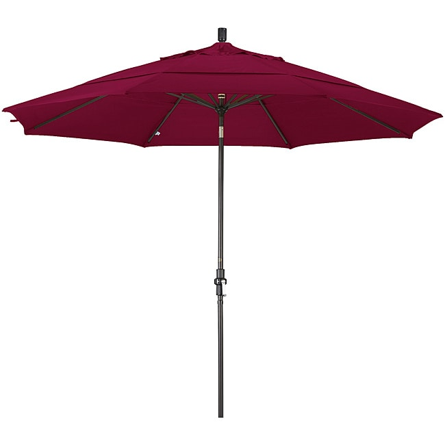 California Umbrella 11' Rd. Aluminum Market Umbrella, Crank Lift, Collar Tilt, Dbl Wind Vent, Bronze Finish, Pacifica Fabric