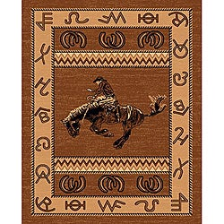 Lodge Design 370 Cowboy and Riding Horse Area Rug (5' x 7')