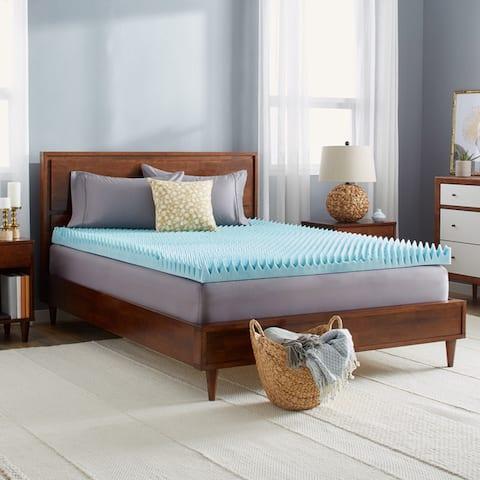 Slumber Solutions Highloft 4-inch Textured Gel Memory Foam Mattress Topper