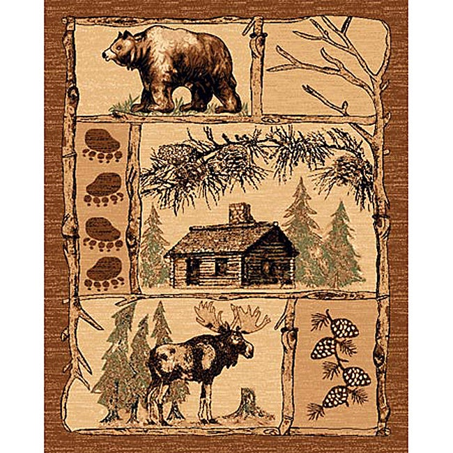 Shop Lodge Design 362 Moose Bear Cabin Brown Area Rug (5
