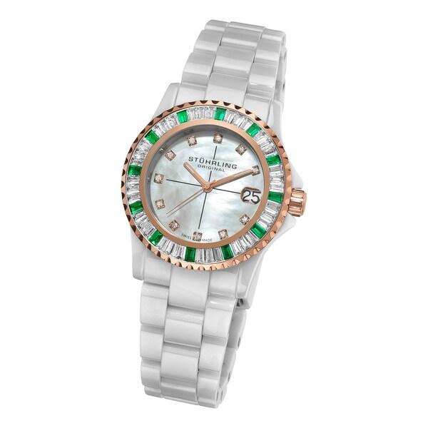 Stuhrling Original Woman's Aurora Ceramic Bracelet Watch