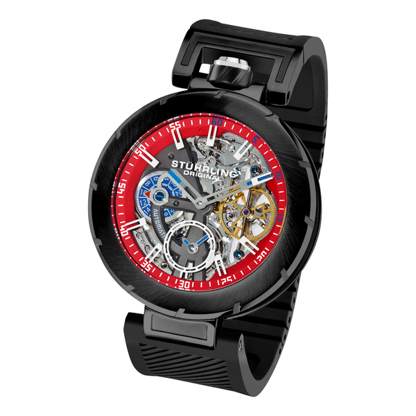 Stuhrling Original Men's Emperor VT Automatic Mechanical Black Rubber Strap Watch