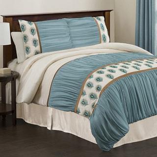 Lush Decor 'Aurora' Ivory/ Turquoise 4-piece Queen-size Comforter Set