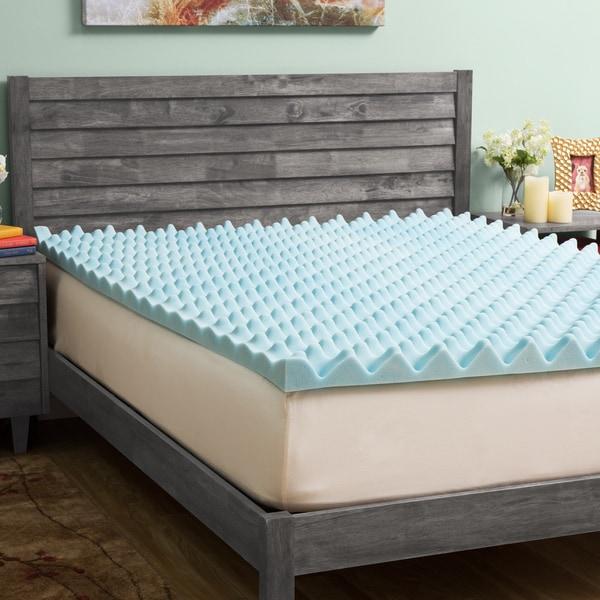 Slumber Solutions Gel Big Bump 4-inch Memory Foam Mattress Topper with Cover