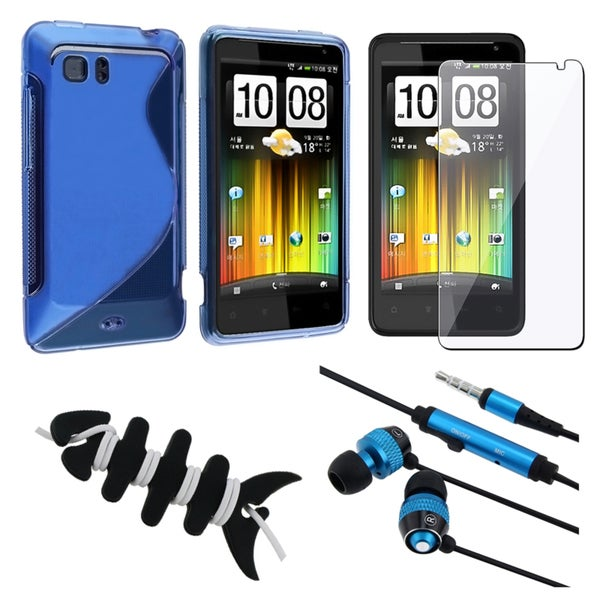 BasAcc Blue TPU Case/ Screen Protector/ Headset/ Wrap for HTC Holiday