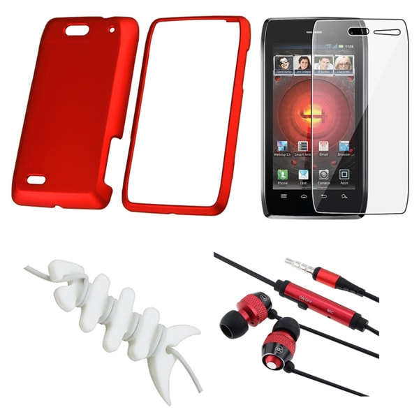 INSTEN Red Case Cover/ Protector/ Headset/ Wrap for Motorola Droid 4 XT894
