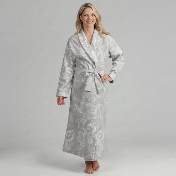 Shop Dormisette Women s Grey  White Paisley German Flannel Robe ... 2998667b34