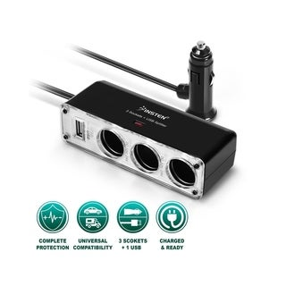 INSTEN 3-way Car Cigarette Lighter Socket Splitter with USB Port