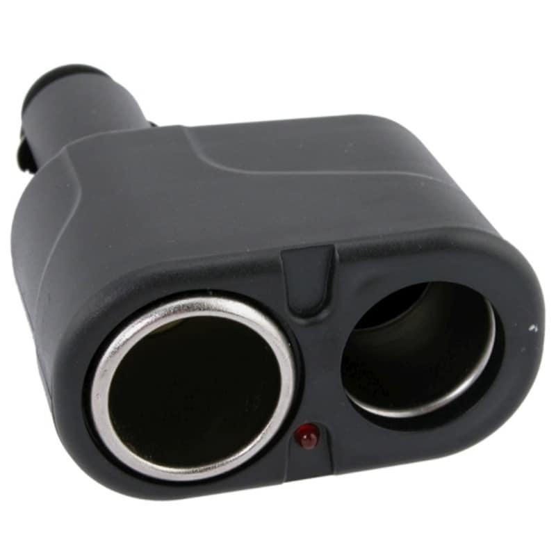 INSTEN Black 2-Way Car Cigarette Lighter Socket Splitter