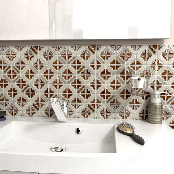 SomerTile 11.75x11.75-inch Castle Henna Porcelain Mosaic Floor and Wall Tile (Case of 10)