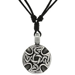 Carolina Glamour Collection Pewter Unisex Celtic Medallion Adjustable Cord Necklace