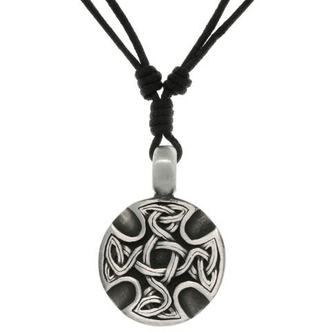 Pewter Unisex Celtic Medallion Adjustable Cord Necklace