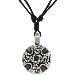 Pewter Unisex Celtic Medallion Adjustable Cord Necklace
