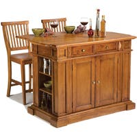 Gracewood Hollow Capote Distressed Oak Kitchen Island and Stools Set