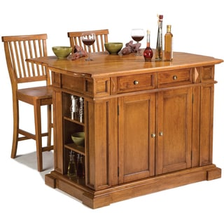 Distressed Oak Kitchen Island and Stools by Home Styles