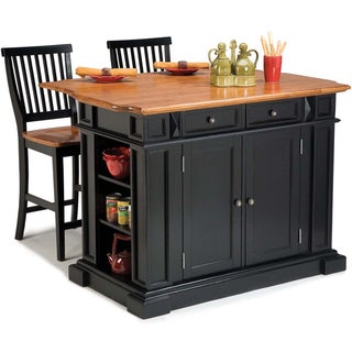 Gracewood Hollow Alleyn Black Distressed Oak Finish Kitchen Island and Barstools Kitchen Set