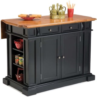 Home Styles Black Distressed Oak Kitchen Island