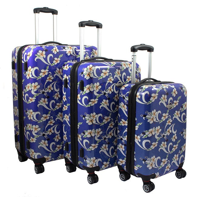Tropical Flower 3-piece Lightweight Hardside Spinner Luggage Set
