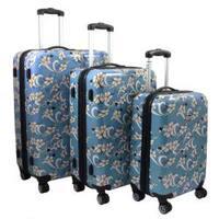 Sky Blue Tropical Flower 3-piece Lightweight Expandable Hardside Spinner Luggage Set