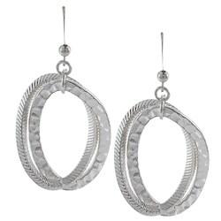 Alexa Starr Silvertone Textured Oval Dangle Earrings