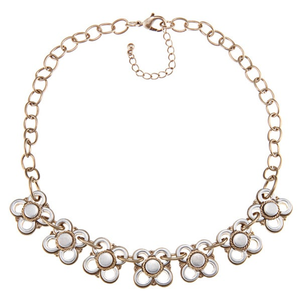 Alexa Starr Two-tone Flower Link Necklace