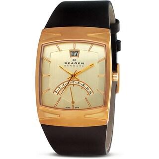 Skagen Men's Brown Leather Gold Plated Watch
