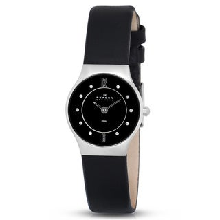 Skagen Women's '233XSSLB' Black Dial Leather Strap Watch