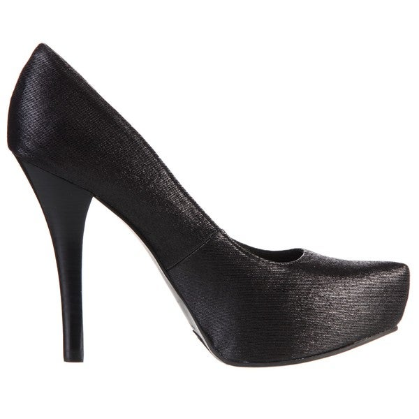 Carlos By Carlos Santana Platonic Black Denim High Heeled Platform Pumps