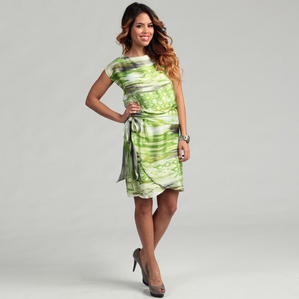Jessica Howard Women's Belted Blouson Watercolor Printed Dress
