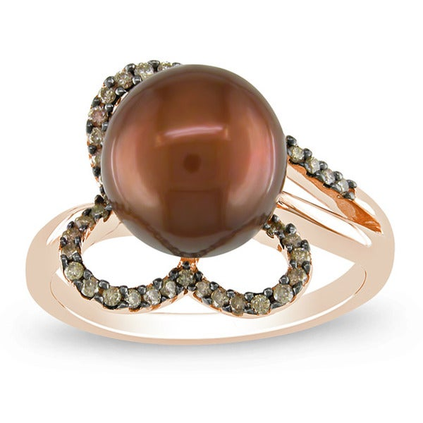 Miadora 14k Pink Gold Chocolate Cultured Freshwater Pearl and 1/5ct TDW Brown Diamond Ring