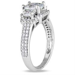 Miadora 14k White Gold 1 3/4ct TDW Cushion-cut Diamond Ring