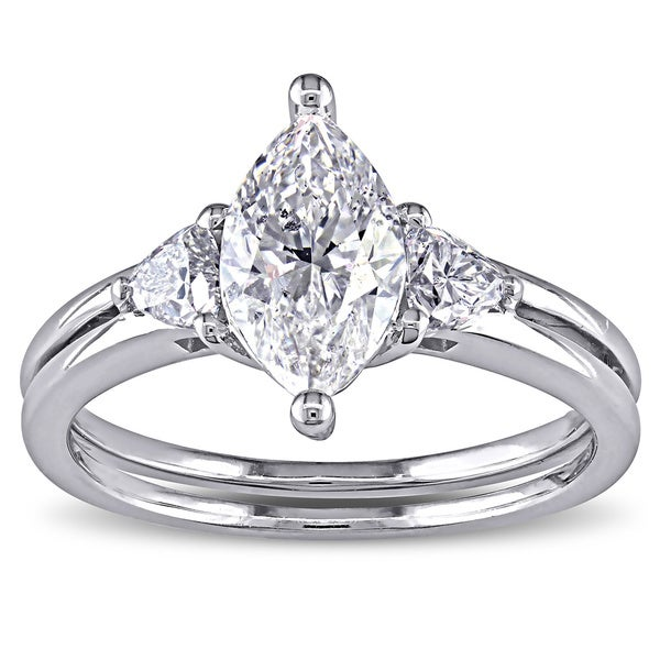 Miadora Signature Collection 14k Gold 1 1/2ct TDW Certified Marquise-cut Diamond Ring (F, SI2, GIA)