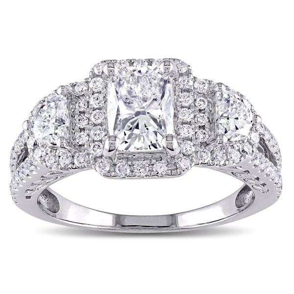 Miadora Signature Collection 14k White Gold 2ct TDW Cushion-cut Diamond Ring