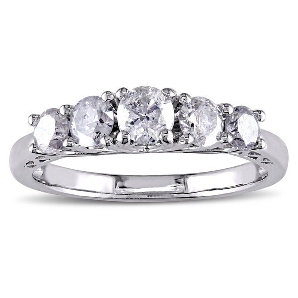 Miadora Signature Collection 10k White Gold 1ct TDW Diamond Anniversary Ring