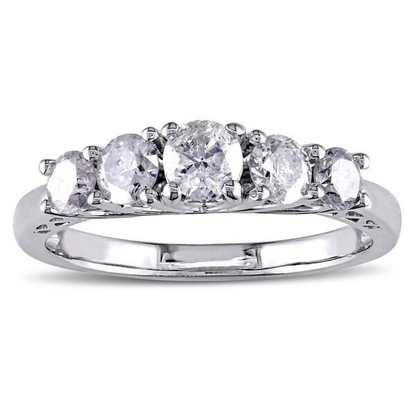 Miadora Signature Collection 10k White Gold 1ct TDW Diamond Anniversary Ring (H-I, I2-I3)