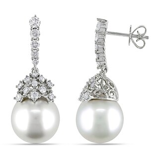 Miadora Signature Collection 14k Gold South Sea Pearl/ 1ct TDW Diamond Earrings (G-H, SI1-2) (10-12 mm)