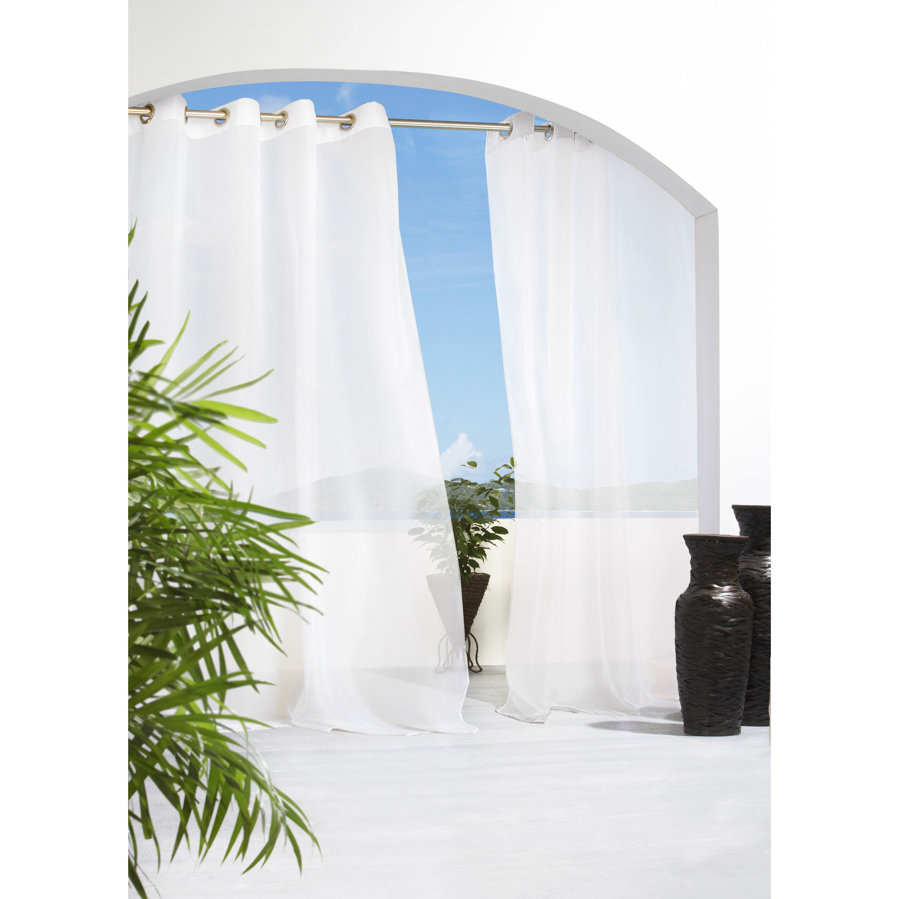 Escape Tab Top Indoor/Outdoor 96 inch Voile Curtain Panel...
