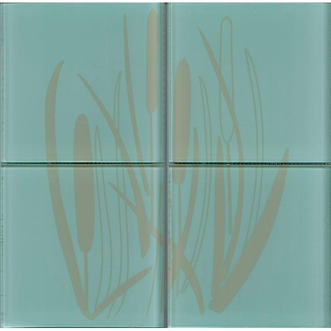 Lush Henry Road 12x12-inch 'Bullrush' 6-inch Glass Tile