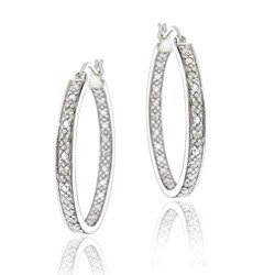 DB Designs Sterling Silver 1/8ct TDW Diamond 25-mm Round Hoop Earrings