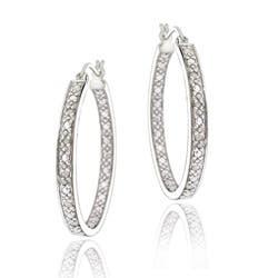 DB Designs Sterling Silver 1/8ct TDW Diamond 25-mm Round Hoop Earrings