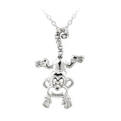 DB Designs Sterling Silver Diamond Accent Playful Monkey Necklace