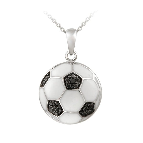 DB Designs Sterling Silver Black Diamond Accent and Enamel Soccer Ball Necklace